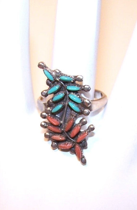 Vintage ZUNI Sterling Silver, Turquoise & Coral Petit Point Ring...