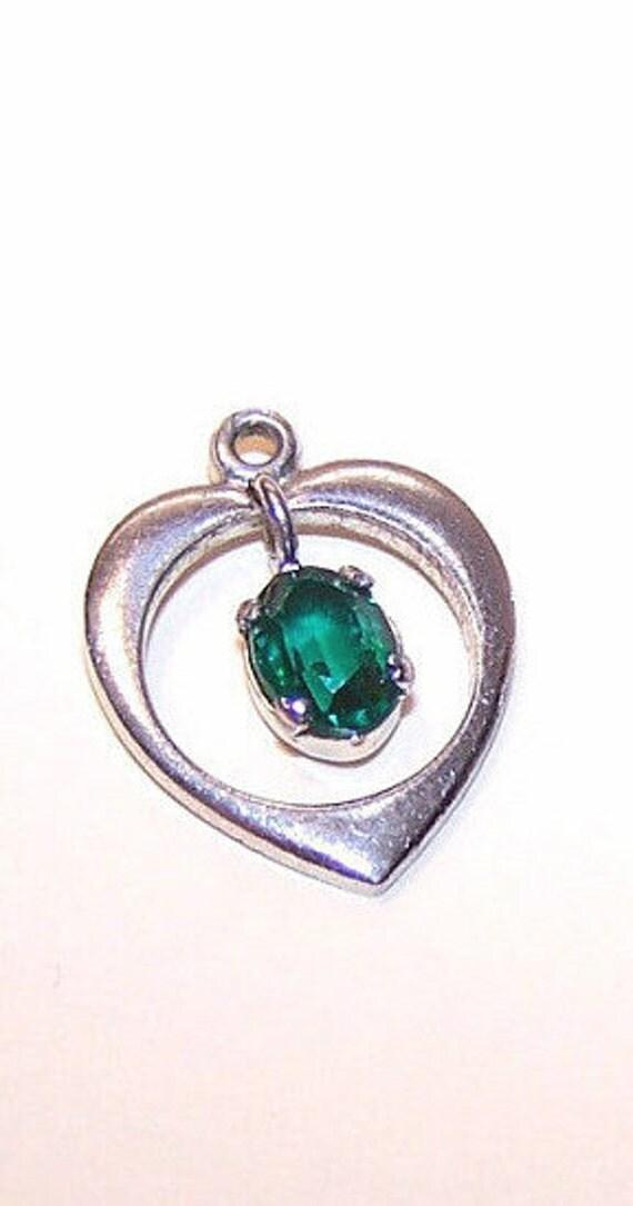 1950s STERLING SILVER & Green Rhinestone Open Heart Charm.....