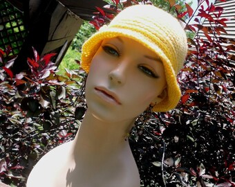 Crochet womens/tweens fedora or bolero hat in sunshine yellow