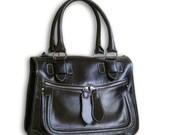 Deep chocolate brown leather handbag / shoulder bag / Baby Rabbit / tftateam