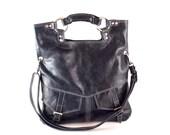 Navy blue leather handbag / shoulder bag / purse / tote / Brook / tftateam