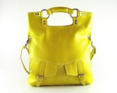 Yellow leather handbag / shoulder bag / purse / tote / Brook / tftateam