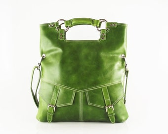 Olive green  leather handbag / shoulder bag / purse / tote / Brook
