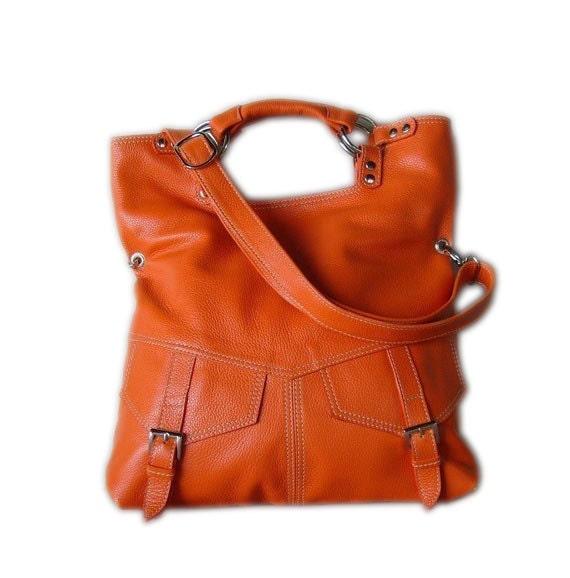 Orange pebble leather handbag / shoulderbag  / purse / tote / leather bag / Brook / tftateam