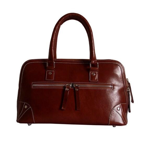 Tan brown leather handbag / leather purse / Jandra II / tftateam