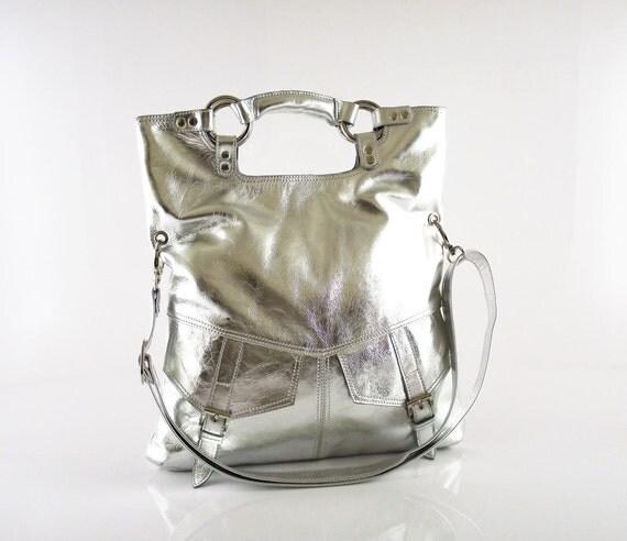 Silver leather handbag / shoulder bag / purse / tote / Brook