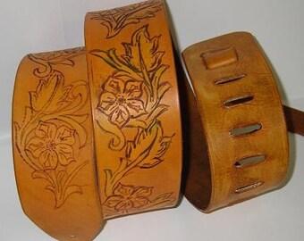 Floral design guitar strap