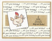 Happy Birthday hand-stamped card HOLIDAY SPECIAL: FREE SHIPPING ON ALL CARDS