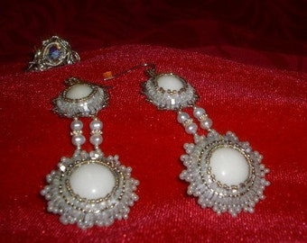 White and Silver Bead Embroidered Earrings