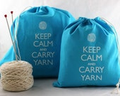 Large knitting project bag - Keep Calm and Carry Yarn - turquoise