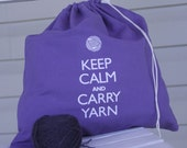 Large knitting project bag - Keep Calm and Carry Yarn - purple