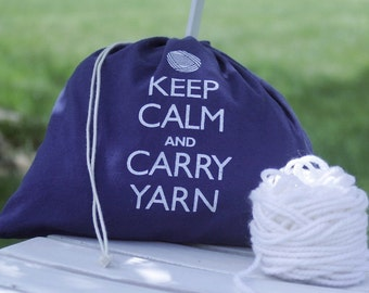 Small knitting project bag - Keep Calm and Carry Yarn - navy