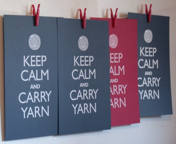 Keep Calm and Carry Yarn poster (12 x 18 gray)
