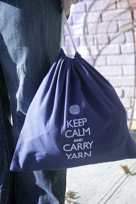 Large knitting project bag - Keep Calm and Carry Yarn - navy