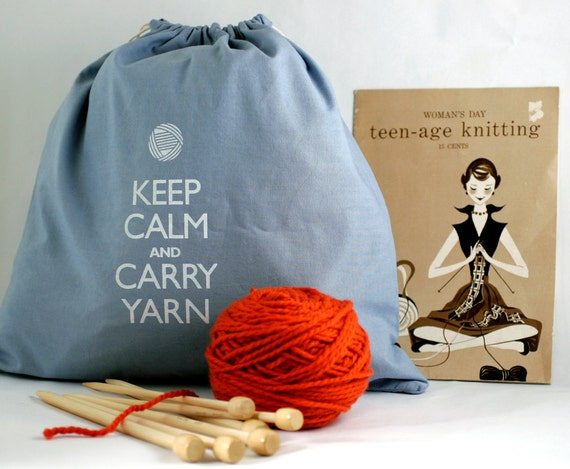 Large knitting project bag - Keep Calm and Carry Yarn - Wedgewood blue