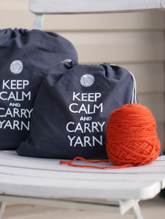 Keep Calm and Carry Yarn small project bag - NEW COLOR - steel wool gray