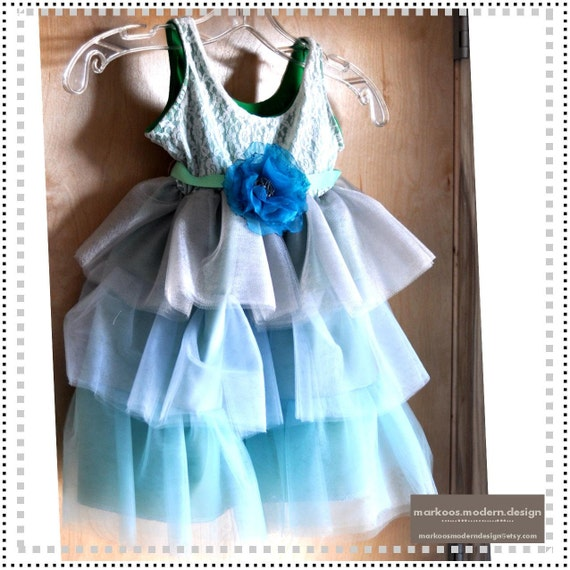 The Mint Julep Dress - Lace and Tulle Ombre Dress in Ivory, Silver, and Mint - sizes 6-12mo, 18-24mo, 2T, 3T, 4T, 5/6