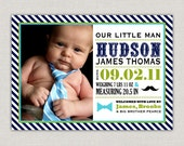 Little Man Baby Boy Birth Announcement