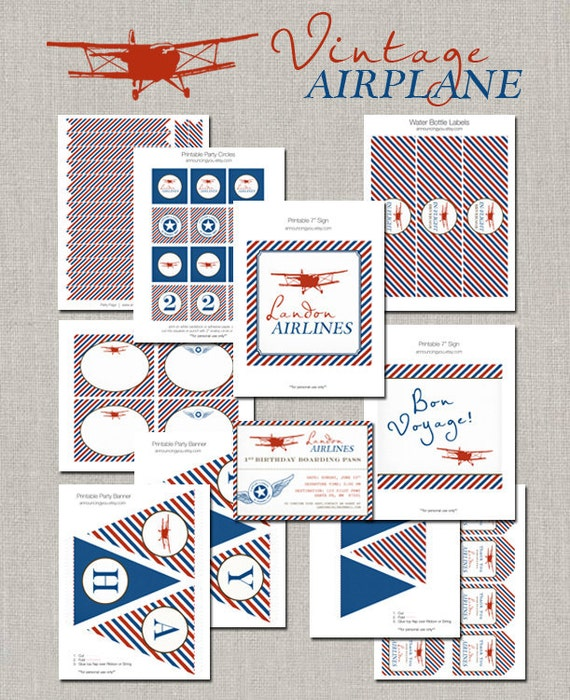 Printable Vintage Airplane Party Collection Diy By: Printable Vintage Airplane Party Collection DIY By