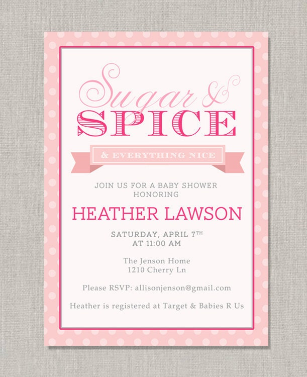 Sugar And Spice Baby Shower: Sugar & Spice Baby Shower Invitation By Announcingyou On Etsy