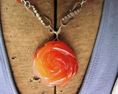 Carved and Faceted Carnelian Agate Rose Necklace