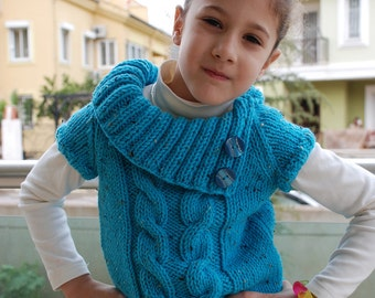 6-7 years Turquoise Cable Sweater Chunky Warm