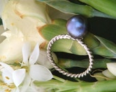 Peacock Pearl Ring and Earring Set, Ready to Ship