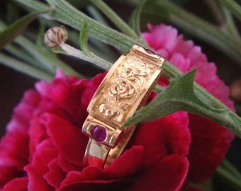 Rose and Ruby Saddle Ring in Solid 18k Gold, Handforged, Ready to Ship