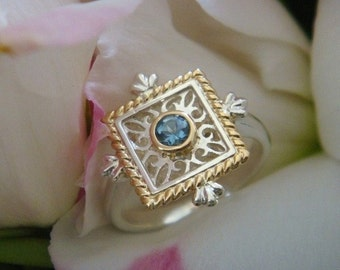 Bella, Handforged Sterling and 18k Gold Ring with Natural Aquamarine, Original H.O.W. Design (Made to Order)