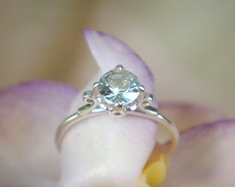 Sparkly Blue Lotus Ring in Sterling Silver and Aquamarine, Made to Order