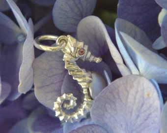 Baby Seahorse in Sterling Silver with Keshi Pearl Tummy and Pink Tourmaline Eyes, Handforged to Order
