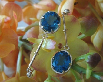 Regina Earrings with London Blue Topaz in 18k Yellow Gold, Ready to Ship