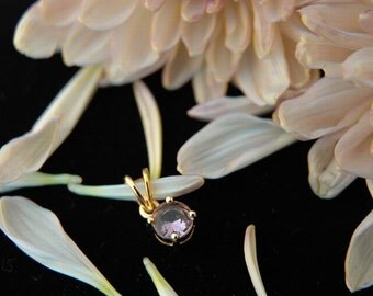 18k Gold and Natural Amethyst Solitaire Pendant, Handmade Setting, Ready to Ship