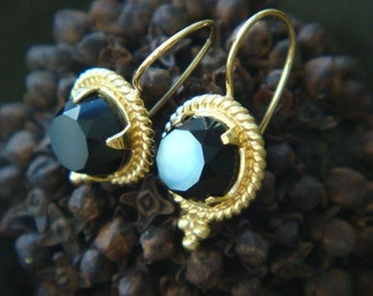 Etruscan-Inspired Onyx and Solid Gold Handmade Earrings, Made to Order