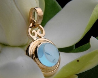 Heart of Water Pendant in Sky Blue Topaz and 18k Yellow Gold, Ready to Ship