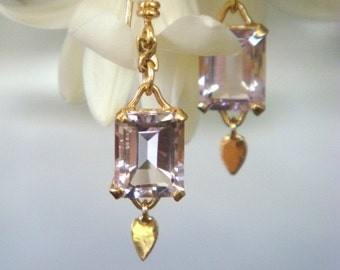 Mistral 18k Gold and Pink Amethyst Handmade Dangling Earrings in Windchime Setting - Made to Order