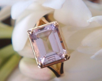Mistral 18K Gold and Pink Amethyst Handmade Ring - Made to Order