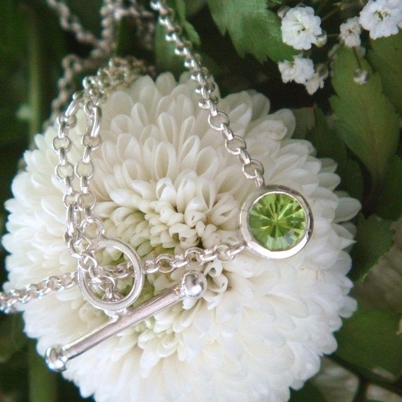 Peridot Pillbox Necklace in Sterling Silver, Ready to Ship