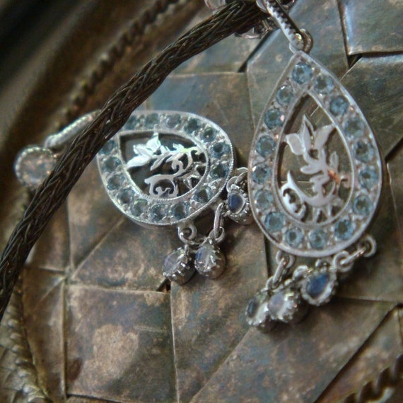 Lakshmi, Handforged Sterling Earrings with Natural Aquamarine and Rainbow Moonstone, Ready to Ship (Original Design)