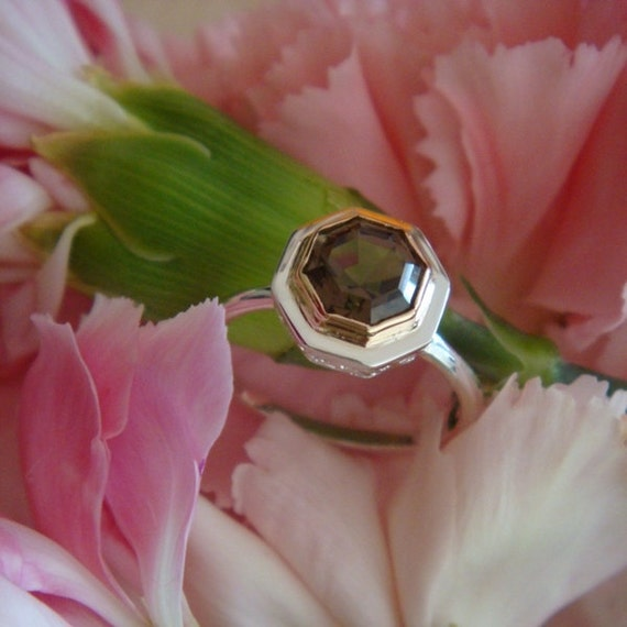 18k Rose Gold and Sterling Silver Smoky Quartz OOAK Ring, Handforged, Made to Order