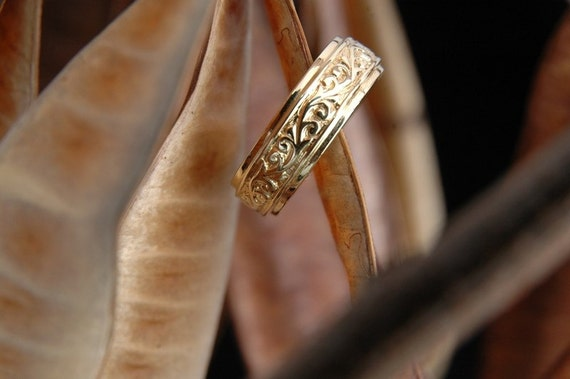 Stream, Handcarved Solid Gold Band, Made to Order (Price may vary according to size)