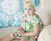 Girls Dress . Tunic . Peasant Style . Teal Bouquet . Spring