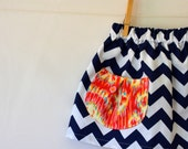 Girls Skirt . Navy and White Chevron . Coral Ikat Pocket