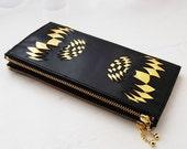 Matt black/Gold leather wallet