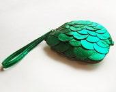 Metallic green leather fish scale purse