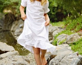 Short Sleeve Tiny White Flowers Night Gown Girls size 6 ONLY