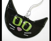 Glassworks Northwest - Cute Black with Lime Eyes Retro Kitty - Fused Glass Ornament