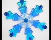 Glassworks Northwest - Teal Snowflake - Fused Glass Ornament