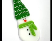 Glassworks Northwest - STORM the Small Snowman with the Green Hat and Lime Scarf - Fused Glass Ornament
