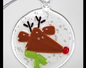 Glassworks Northwest - Rudolph the Red-nosed Reindeer with a Lime Scarf in a Snowstorm - Fused Glass Ornament